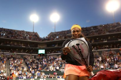 """""""Serena Williams plays a second round match against Monica Niculescu at the Indian Wells Tennis Garden in Indian Wells, California on Friday, March 13, 2015."""""""