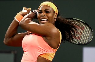"""""""Serena Williams plays Monica Niculescu in a second round match at the Indian Wells Tennis Garden in Indian Wells, California on Friday, March 13, 2015."""""""