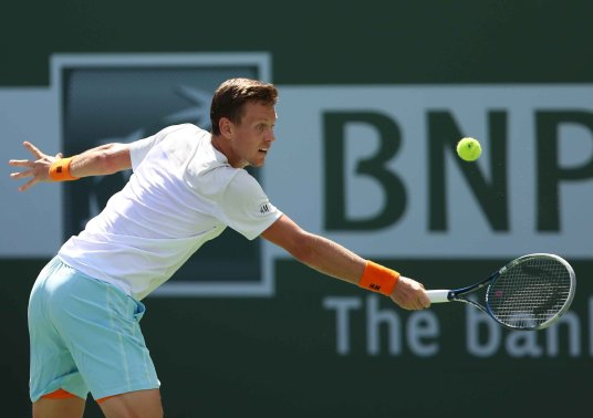 """""""Tomas Berdych in action against Steve Johnson during their match at stadium 1 at the Indian Wells Tennis Garden in Indian Wells, California on Tuesday, March 17, 2015."""""""