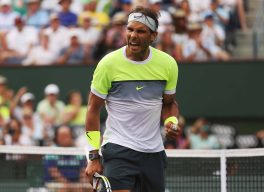 """""""Rafael Nadal reacts following his win against Donald Young during their match at stadium 1 at the Indian Wells Tennis Garden in Indian Wells, California on Tuesday, March 17, 2015."""""""
