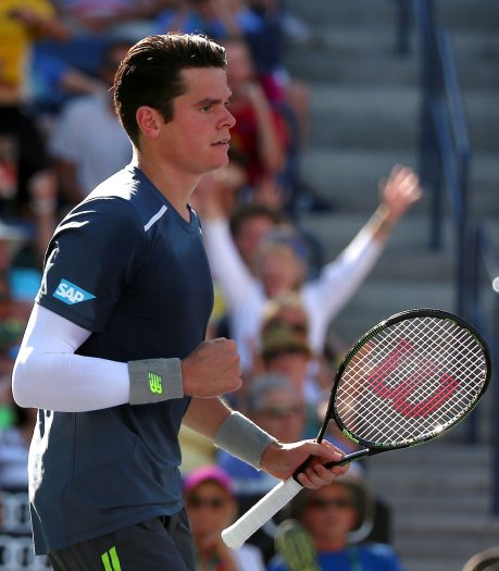 """""""Milos Raonic during a men's quarter-final match against Rafael Nadal on day twelve at the Indian Wells Tennis Garden in Indian Wells, California Friday, March 20, 2015."""""""