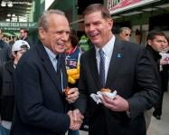 """""""Boston Red Sox President & CEO Larry Lucchino and Boston Mayor Marty Walsh share a laugh during a walk through of Fenway Park in Boston, Massachusetts Monday, April 6, 2015."""""""