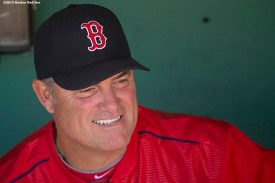 """""""Boston Red Sox manager John Farrell smiles before a game against the Washington Nationals at Fenway Park in Boston, Massachusetts Wednesday, April 15, 2015."""""""