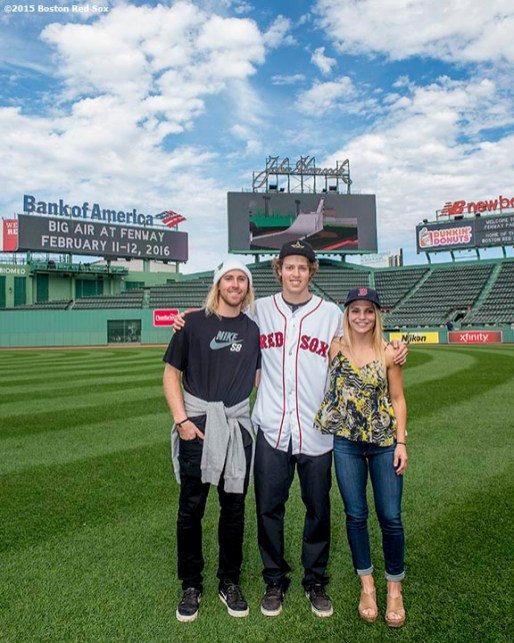 """""""Olympic snowboarding gold medalist Sage Kotsenburg, Olympic skiing gold medalist Joss Christensen, and snowboarder Ty Walker pose for a photograph during a press conference announcing a Big Air ski and snowboard competition at Fenway Park in Boston, Massachusetts Tuesday, September 22, 2015."""""""