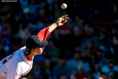 """""""Boston Red Sox pitcher Henry Owens delivers during the fourth inning of a game against the Baltimore Orioles at Fenway Park in Boston, Massachusetts Sunday, September 27, 2015."""""""