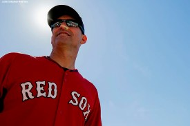 """""""Interim manager Torey Lovullo looks on during on-field photo day before a game between the Boston Red Sox and the Baltimore Orioles at Fenway Park in Boston, Massachusetts Sunday, September 27, 2015."""""""