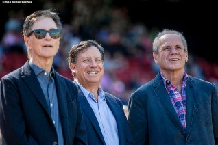 """""""Boston Red Sox Principal Owner John Henry, Chairman Tom Werner, and PResident & CEO Larry Lucchino look on during a tribute ceremony for Larry Lucchino before a game between the Boston Red Sox and the Baltimore Orioles at Fenway Park in Boston, Massachusetts Sunday, September 27, 2015."""""""