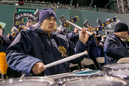 """""""The Notre Dame marching band performs during the Shamrock Series Football at Fenway game against Boston College at Fenway Park in Boston, Massachusetts Saturday, November 21, 2015."""""""