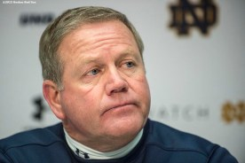 """""""Notre Dame head coach Brian Kelly addresses the media during a press conference after the Shamrock Series Football at Fenway game against Boston College at Fenway Park in Boston, Massachusetts Saturday, November 21, 2015."""""""