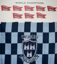 """""""The Dublin flag is displayed in the locker room during the AIG Hurling and Irish Festival at Fenway Park in Boston, Massachusetts Saturday, November 22, 2015."""""""