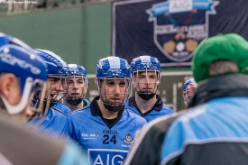 """""""The Dublin team looks on in the huddle during the AIG Hurling Classic and Irish Festival game against Galway at Fenway Park in Boston, Massachusetts Saturday, November 22, 2015."""""""