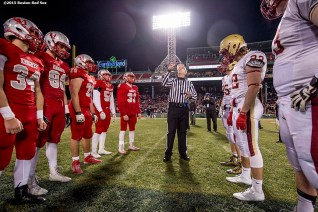 """""""A coin toss before a high school football game between Boston College High School and Catholic Memorial High School at Fenway Park in Boston, Massachusetts Wednesday, November 25, 2015."""""""