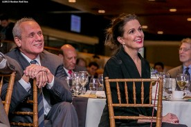 """""""Boston Red Sox President & CEO Emeretus Larry Lucchino is honored alongside Stacey Lucchino during a B'Nai B'Rith event at Fenway Park in Boston, Massachusetts Tuesday, November 17, 2015."""""""