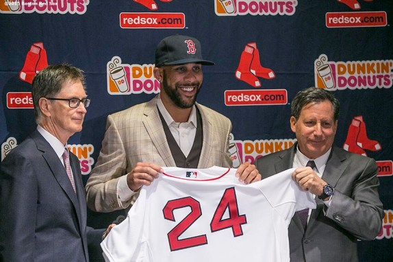 """""""Principal Owner John Henry and Chairman Tom Werner present pitcher David Price with a jersey during a press conference after agreeing to a seven year contract with the Boston Red Sox at Fenway Park in Boston, Massachusetts Friday, December 4, 2015."""""""