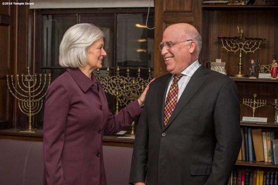 """""""Rabbi Elaine Zecher speaks with Rabbi Ronne Friedman at Temple Israel in Boston, Massachusetts Friday, January 15, 2016."""""""