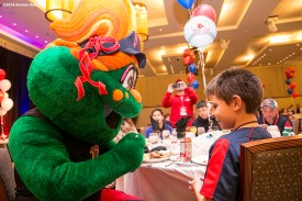 """""""Boston Red Sox mascot Tessie greets guests at a Breakfast with Wally at the 2016 Winter Weekend at Foxwoods Resort & Casino in Ledyard, Connecticut Sunday, January 24, 2016."""""""