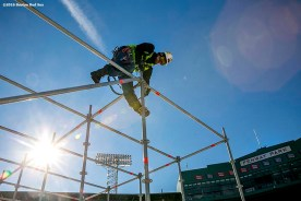 """""""A worker constructs scaffolding as construction continues on the Big Air at Fenway ski and snowboard ramp at Fenway Park in Boston, Massachusetts Wednesday, January 20, 2016. """""""