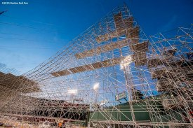 """""""Construction continues on the Polartec Big Air at Fenway ski and snowboard ramp at Fenway Park in Boston, Massachusetts Thursday, January 28, 2016. """""""