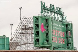 """""""Construction continues on the Polartec Big Air at Fenway ski and snowboard ramp at Fenway Park in Boston, Massachusetts Monday, February 1, 2016. """""""