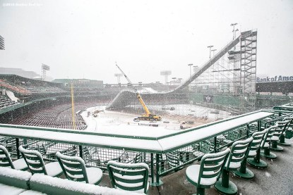 """""""Construction continues on the Polartec Big Air ski and snowboard ramp as snow falls at Fenway Park in Boston, Massachusetts Friday, February 5, 2016. """""""