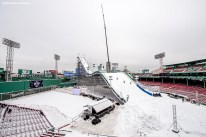 """""""Construction continues on the Polartec Big Air ski and snowboard ramp at Fenway Park in Boston, Massachusetts Tuesday, February 9, 2016."""""""