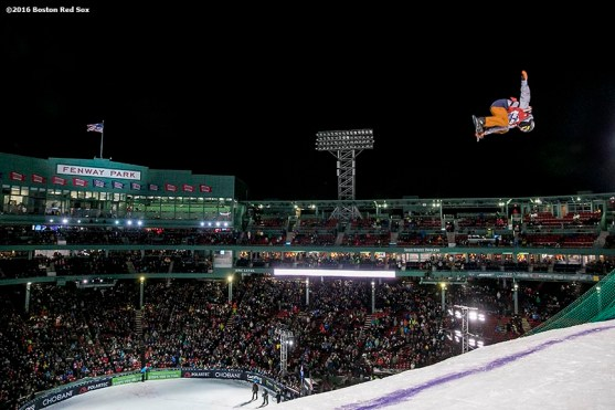 """""""A snowboarder drops into the ramp during the Polartec Big Air at Fenway ski and snowboard competition at Fenway Park in Boston, Massachusetts Thursday, February 11, 2016."""""""