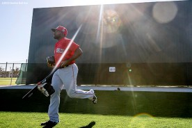 FT. MYERS, FL - FEBRUARY 26: Jackie Bradley Jr. #25 of the Boston Red Sox runs toward the field during a team workout on February 26, 2016 at Fenway South in Fort Myers, Florida . (Photo by Billie Weiss/Boston Red Sox/Getty Images) *** Local Caption *** Jackie Bradley Jr.