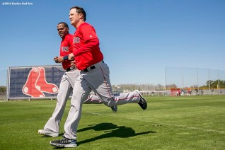FT. MYERS, FL - FEBRUARY 27: Roenis Elias #29 and Steven Wright #35 of the Boston Red Sox run sprints during a team workout on February 27, 2016 at Fenway South in Fort Myers, Florida . (Photo by Billie Weiss/Boston Red Sox/Getty Images) *** Local Caption *** Roenis Elias; Steven Wright