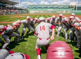 February 29, 2016, Fort Myers, FL: Members of the Boston College baseball huddle before an exhibition game against the Boston Red Sox at JetBlue Park in Fort Myers, Florida Monday, February 29, 2016. (Photos by Billie Weiss/Boston Red Sox)