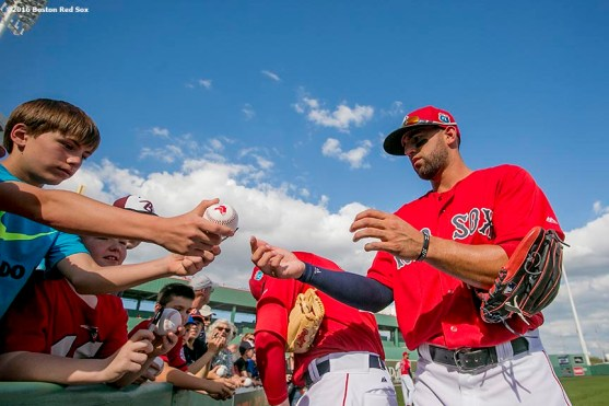 FT. MYERS, FL - FEBRUARY 29: Deven Marrero #16 of the Boston Red Sox signs autographs in an exhibition game against the Northeastern University Huskies on February 29, 2016 at jetBlue Park in Fort Myers, Florida . (Photo by Billie Weiss/Boston Red Sox/Getty Images) *** Local Caption *** Deven Marrero