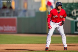 FT. MYERS, FL - FEBRUARY 29: Yoan Moncada #22 of the Boston Red Sox takes a lead in an exhibition game against the Northeastern University Huskies on February 29, 2016 at jetBlue Park in Fort Myers, Florida . (Photo by Billie Weiss/Boston Red Sox/Getty Images) *** Local Caption *** Yoan Moncada