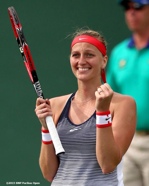 """""""Petra Kvitova reacts after defeating Johanna Larsson during the 2016 BNP Paribas Open at the Indian Wells Tennis Garden in Indian Wells, California Sunday, March 13, 2016."""""""
