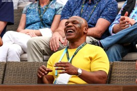 """""""Former boxer Mike Tyson reacts during a match between Serena Williams and Yulia Putintseva during the 2016 BNP Paribas Open at the Indian Wells Tennis Garden in Indian Wells, California Sunday, March 13, 2016."""""""