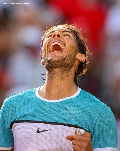 """""""Rafael Nadal reacts after defeating Fernando Verdasco during the 2016 BNP Paribas Open at the Indian Wells Tennis Garden in Indian Wells, California Tuesday, March 15, 2016."""""""
