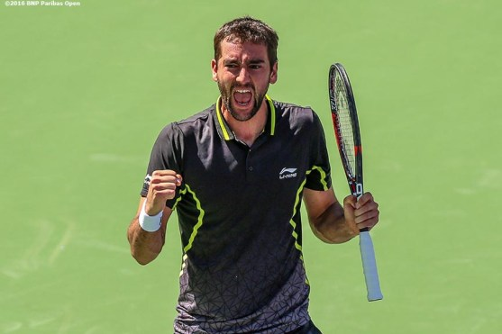 """""""Marin Cilic reacts after defeating Richard Gasquet during the 2016 BNP Paribas Open at the Indian Wells Tennis Garden in Indian Wells, California Wednesday, March 16, 2016."""""""