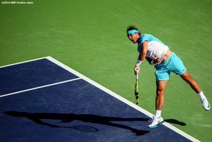 """""""Rafael Nadal in action against Alexander Zverev during the 2016 BNP Paribas Open at the Indian Wells Tennis Garden in Indian Wells, California Wednesday, March 16, 2016."""""""