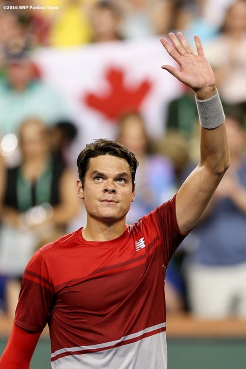 """""""Milos Raonic reacts after defeating Gael Monfils during the 2016 BNP Paribas Open at the Indian Wells Tennis Garden in Indian Wells, California Thursday, March 17, 2016."""""""