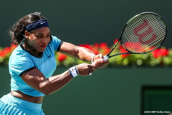 """""""Serena Williams in action against Victoria Azarenka in the women's finals match during the 2016 BNP Paribas Open at the Indian Wells Tennis Garden in Indian Wells, California Sunday, March 20, 2016."""""""