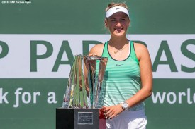 """""""Trophy presentation following the women's finals match between Victoria Azarenka and Serena Williams during the 2016 BNP Paribas Open at the Indian Wells Tennis Garden in Indian Wells, California Sunday, March 20, 2016."""""""