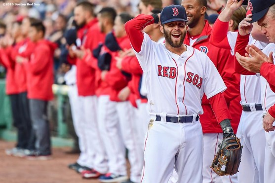 BOSTON, MA - APRIL 30: Dustin Pedroia #15 of the Boston Red Sox reacts before a game against the New York Yankees on April 30, 2016 at Fenway Park in Boston, Massachusetts . (Photo by Billie Weiss/Boston Red Sox/Getty Images) *** Local Caption *** Dustin Pedroia
