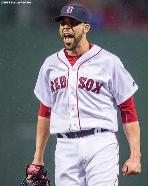 BOSTON, MA - MAY 1: David Price #24 of the Boston Red Sox reacts after a play at the plate during the first inning of a game against the New York Yankees on May 1, 2016 at Fenway Park in Boston, Massachusetts. (Photo by Billie Weiss/Boston Red Sox/Getty Images) *** Local Caption *** David Price