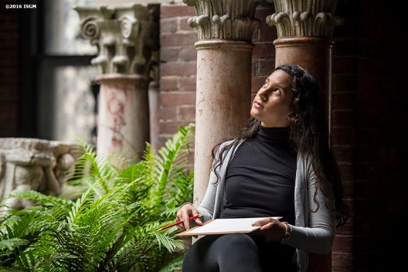 """""""Students attend an educational program in the courtyard at the Isabella Stewart Gardner Museum in Boston, Massachusetts Wednesday, June 2, 2016. """""""
