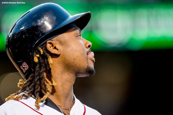 BOSTON, MA - JUNE 22: Hanley Ramirez #13 of the Boston Red Sox reacts after grounding out during the third inning of a game against the Chicago White Sox on June 22, 2016 at Fenway Park in Boston, Massachusetts. (Photo by Billie Weiss/Boston Red Sox/Getty Images) *** Local Caption *** Hanley Ramirez
