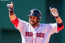 BOSTON, MA - JULY 3: Sandy Leon #3 of the Boston Red Sox reacts after hitting an RBI double during the fifth inning of a game against the Los Angeles Angels of Anaheim on July 3, 2016 at Fenway Park in Boston, Massachusetts. (Photo by Billie Weiss/Boston Red Sox/Getty Images) *** Local Caption *** Sandy Leon