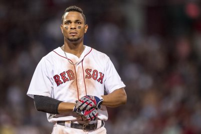 BOSTON, MA - JULY 25: Xander Bogaerts #2 of the Boston Red Sox reacts after flying out during the seventh inning of a game against the Detroit Tigers on July 25, 2016 at Fenway Park in Boston, Massachusetts. (Photo by Billie Weiss/Boston Red Sox/Getty Images) *** Local Caption *** Xander Bogaerts