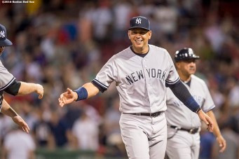 BOSTON, MA - AUGUST 11: Alex Rodriguez #13 of the New York Yankees celebrates a victory against the Boston Red Sox on August 11, 2016 at Fenway Park in Boston, Massachusetts.(Photo by Billie Weiss/Boston Red Sox/Getty Images) *** Local Caption *** Alex Rodriguez