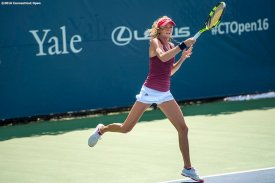 August 19, 2016, New Haven, Connecticut: Daniela Hantuchova of Slovakia in action during a qualifying match on Day 1 of the 2016 Connecticut Open at the Yale University Tennis Center on Friday, August 19, 2016 in New Haven, Connecticut. (Photo by Billie Weiss/Connecticut Open)