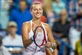 August 24, 2016, New Haven, Connecticut: Petra Kvitova of the Czech Republic reacts after winning a match against Eugenie Bouchard on Day 6 of the 2016 Connecticut Open at the Yale University Tennis Center on Wednesday, August 24, 2016 in New Haven, Connecticut. (Photo by Billie Weiss/Connecticut Open)