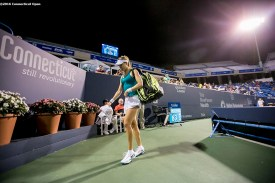August 24, 2016, New Haven, Connecticut: Eugenie Bouchard of Canada walks off the court after being defeated by Petra Kvitova of the Czech Republic on Day 6 of the 2016 Connecticut Open at the Yale University Tennis Center on Wednesday, August 24, 2016 in New Haven, Connecticut. (Photo by Billie Weiss/Connecticut Open)