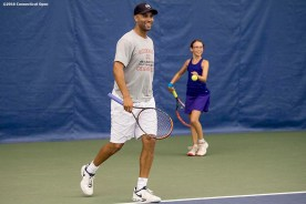 August 25, 2016, New Haven, Connecticut: James Blake participates in a pro-am tournament during the Men's Legends Event on Day 7 of the 2016 Connecticut Open at the Yale University Tennis Center on Thursday, August 25, 2016 in New Haven, Connecticut. (Photo by Billie Weiss/Connecticut Open)